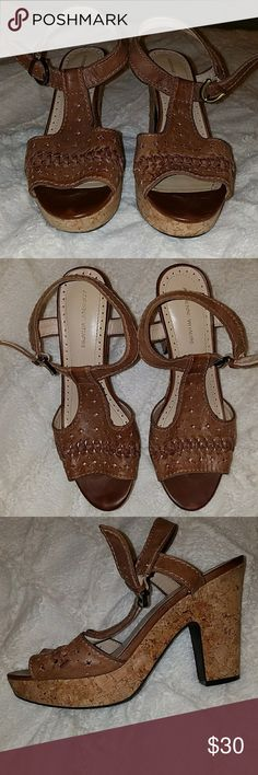 NWOT 8.5 Adrienne Vittadini Yanni  Cork Sandals ✔Adrienne Vittadini Yanni Cork Sandals  ✔in Brown ✔New Never Worn  ✔Size 8.5 ✔Sturdy and comfy heels  ✔Allow for style and height. Adrienne Vittadini Shoes Heels