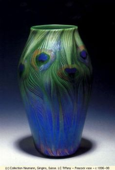 Louis Comfort Tiffany Peacock Vase, c. 1896-98