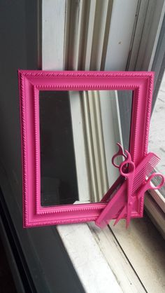 pink hairstylist shears mirror by CheeseCrafty on Etsy, $19.00