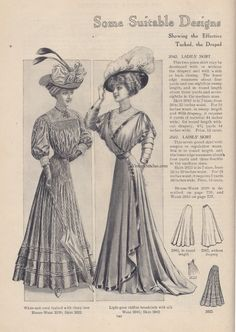 From the collection of Jessica H. Jaeger Some Suitable Designs for Light-Weight Fabrics 1900s Fashion, Edwardian Fashion, Vintage Fashion, Historical Costume, Historical Clothing, Old Dresses, Period Outfit, Antique Clothing, Edwardian Era