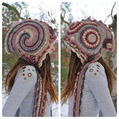 RESERVED Winter Rose Freeform Crochet Hooded Scarf // Ooak Fiber Art Spirit Hood