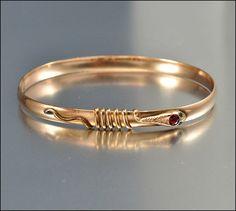 RESERVED Antique Victorian Bracelet Bangle Snake Rose by boylerpf