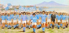 Pintura del Società Sportiva Calcio Napoli, con DIEGO ARMANDO MARADONA y toda su flota.