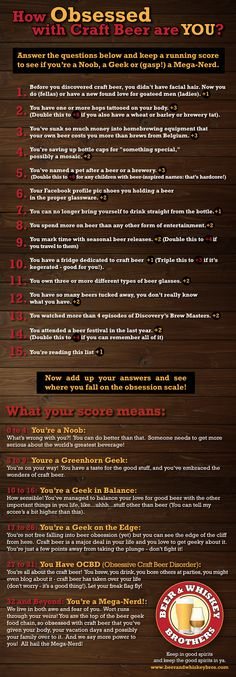 """Craft beer obsession quiz - I scored 18 which makes me a """"Geek on the Edge"""""""