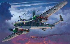 Dornier Do215 B-5 Nightfighter derribando un bombardero británico Lancaster. Más en www.elgrancapitan.org/foro/