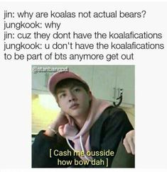 For some reason I love Jins dad jokes ;v; (I call them puns to ;w;) #JinsDadJokes #jin #Jungkook #BTS