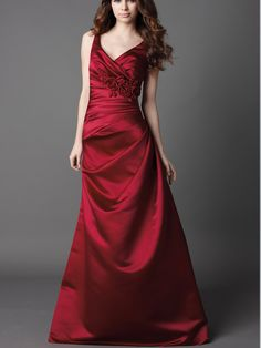 cherry satin floor length v-neck prom dress with flower at side draped bodice