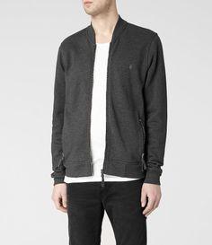Allsaints Oldsen Bomber Jacket in Gray for Men (Charcoal)