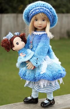 """Hand Knited Blue Dress Set With Dollie For Little Darlings Effner 13"""" by Barbara #DiannaEffner"""