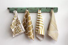 Aya metallic gold & natural handprinted organic hemp pillow cover 20x20