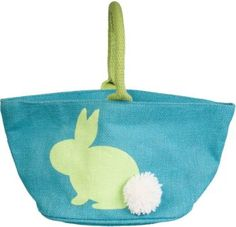 Store all of the Easter bunny's gifts in this adorable blue jute basket with green handle. White pom pom bunny tail is super sweet.<br><br>Size - 12 x 5 x 6