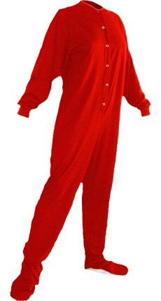 Big Feet Pjs Red Cotton Jersey Adult Footed Pajamas w  Drop-seat (Medium).  Non-Slip Soles. Fun Drop-Seat in Rear of Pajama. Dimensions  (width   (height  ... f3cfa76df