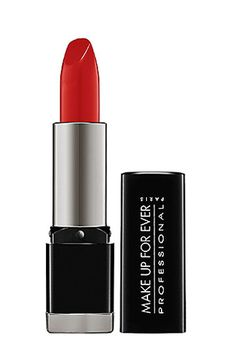 "10 Lipsticks That Have Legit Cult Status -  Make Up For Ever Rouge Artist Intense #42:  ""A perfect bright vermillion red in a satin finish. It gives extra vibrancy and the creamy texture sits well even on dry lips.""  Make Up For Ever Rouge Artist Intense in Satin Vermilion Red, $20"