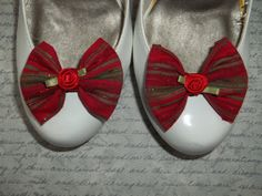 Christmas Bow Shoe Clips  set of 2  shoe clips by ShoeClipsOnly, $16.00
