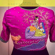 blouse designs latest 20 Stunning Maggam Work Pattu Blouse Designs 2019 by Anjaz Haute Couture, Pattu saree blouse designs silk saree blouse patterns, maggam embroidery Pattu Saree Blouse Designs, Fancy Blouse Designs, Bridal Blouse Designs, Sari Blouse, Saree Dress, Hand Work Blouse Design, Blouse Back Neck Designs, Stylish Blouse Design, Saris