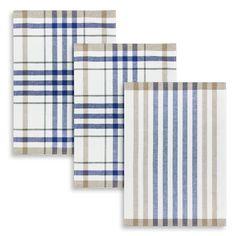 3er Set Geschirrtuch, Halbleinen, Kracht, Streifen-Karo, blau