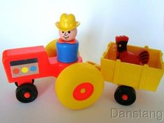 VINTAGE FISHER PRICE LITTLE PEOPLE TRACTOR FARM CART DAD COWBOY FARM HOUSE #915 | eBay