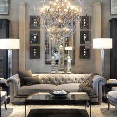 29 Beautiful Black and Silver Living Room Ideas to Inspire | Silver ...