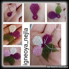 🎀Hayırlı cumalar #igneoya_nejla takipçileri 🎀 🎀 Yaparken adım adım fotoğrafladığım modelimi sizlerle paylaşmak istedim 🎀 🎀Beğeni ve… Diy And Crafts, Arts And Crafts, Tatting Jewelry, Needle Lace, Filet Crochet, Embroidery Stitches, Elsa, Needlework, Crochet Earrings