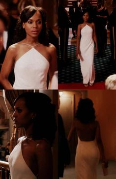 """Francisco Costa,the Women's Creative Director of Calvin Klein Collections, designed this simple and elegant gown worn by Olivia to the White House State Dinner as seen in """"Hell Hath No Fury"""". His trademark streamlined minimalism shines through the long column of this beautifully made halter dress."""