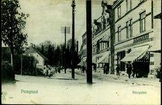 Telemark fylke Porsgrunn  PORSGRUND. Fint motiv fra STORGADEN ved G.A. Pettersens butikk. Med folk Utg P.Alstrup brukt 1905
