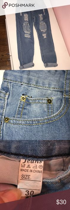 distressed mom jeans looks exactly like brandy jeans!! very comfy and gives a flattering look on the legs. brandless. can fit most sizes with a belt to get baggy/mom look Brandy Melville Jeans Boyfriend