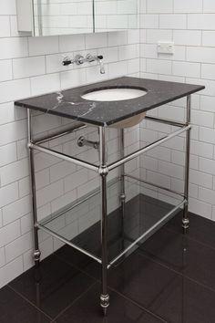 The English Tapware Company Dream Bathrooms, Beautiful Bathrooms, Bathroom Trends, Bathroom Ideas, Black White Bathrooms, Shower Fittings, Bathroom Gallery, Black Floor, Powder Room