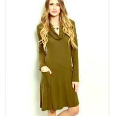 Cowl Neck Pocket Midi Marled Tunic Dress NWOT Olive pocket dress! NWOT. 2 S 2 M 2 L linsleppo2 Tops Tunics