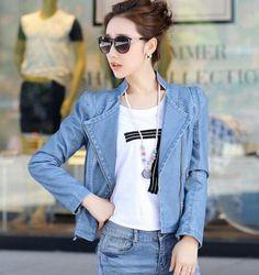 Blue Women PU Jacket Fashion Slim Plus Size Leather Jackets for Women 2017 New Long Sleeve Short Female PU Motorcycle Jacket