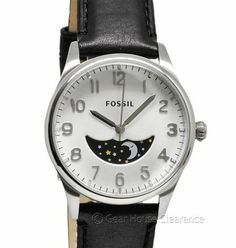 New FOSSIL The Agent Mens Moon Phase Watch Silver Dial w/ Black Leather Band