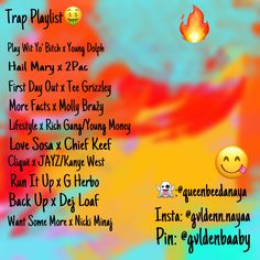 Lit Songs, Mood Songs, Music Songs, Trap Music, Music Tv, New Music, Rap Playlist, Song Recommendations, Song Suggestions