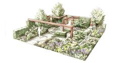 Garden at the rhs chelsea flower show 2014 / rhs gardening рисунки ландшафт Garden Design Plans, Landscape Design Plans, Landscape Architecture, Landscape Sketch, Landscape Drawings, Landscaping Tips, Garden Landscaping, Chelsea Garden, Garden Drawing