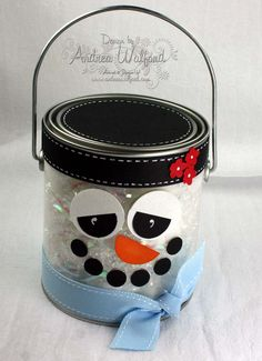 Snowman Paint Can | I am thinking that this would make a great snowman making kit.... inside you can put a scarf, buttons for eyes, hat, pipe... etc