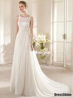 Gorgeous Chiffon & Lace & Satin A-line Illusion Bateau Neckline Raised Waistline Wedding Dress - Wedding Dresses - Weddings