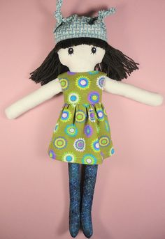 Cloth doll girl cotton ragdoll colorful green flower by Pupadou