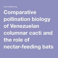 Comparative pollination biology of Venezuelan columnar cacti and the role of nectar-feeding bats in their sexual reproduction.