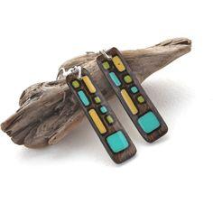 Modern Geometric Dangle Earrings, Long Lightweight Wood Earring, Everyday Earring, Statement Earring, Wood Burn, Epoxy Resin, Surgical Steel by mybellebijoux on Etsy