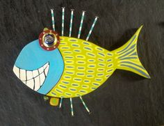 Whimsical Wooden Fish Tropical Nautical  Wall Art by WRSCRAFTS, $20.00