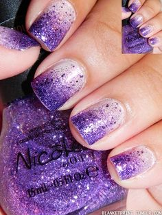 Purple Sparkly Gradient Nail Art