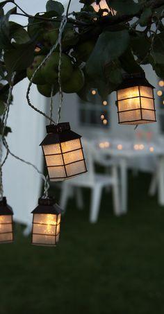 Warm white lantern style string lights