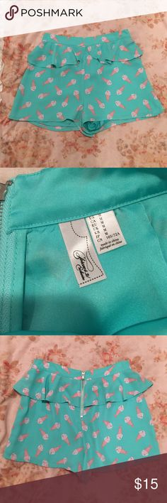 Forever 21 retro ice cream sundae shorts mint Used. There is a mall mark on the back waistband see last image Forever 21 Shorts