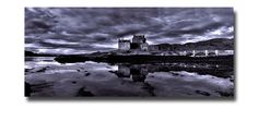 Eilean Donan castle in black and white, Isle of Skye.