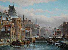 Eduard Alexander Hilverdink (Amsterdam 1846-1891) Winters stadsgezicht - Kunsthandel Simonis en Buunk, Ede (Nederland).
