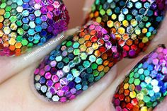 Rainbow Hex Glitter Nails - polishallthenails