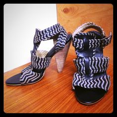 Trouvé heeled sandals Adorable grey and black striped heeled sandals perfect for going out. Stacked heel is about 4 inches, only worn twice so they're in almost new condition. Trouve Shoes Heels
