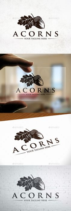 Buy Creative Acorn Logo Template by BossTwinsMusic on GraphicRiver. - Three color version: color, greyscale and single color. - You can change text and col. Branding, Nature Green, Leaf Logo, Woodworking Logo, Best Logo Design, Beauty Logo, Grafik Design, Retro Design, Logo Nasa