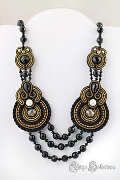 Perlina Rosa: Perlinarosa Soutache Necklaces designed by Kaya Solovieva Boho Jewelry, Jewelry Crafts, Beaded Jewelry, Jewelery, Jewelry Accessories, Handmade Jewelry, Jewelry Design, Fashion Jewelry, Women Jewelry
