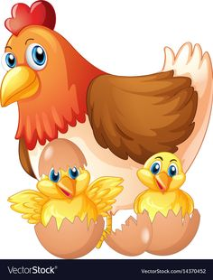 Mother hen and two chicks in eggs Royalty Free Vector Image Cartoon Drawing For Kids, Cartoon Drawings, Cartoon Art, Baby Chickens, Chickens And Roosters, Cartoon Rooster, Farm Animals, Cute Animals, Inkscape Tutorials