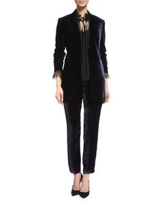 Antoinette+Long+High-Sheen+Blazer+Jacket,+Cecille+Long-Sleeve+Tie-Neck+Silk+Blouse+&+Alanis+High-Sheen+Cropped+Pants+by+Elie+Tahari+at+Neiman+Marcus.