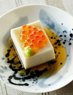 """そば豆腐 soba tofu ikura - Consider a panna cotta or cheese cake with orange or some other flavored """"caviar"""" instead"""